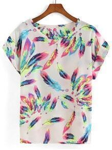 Feather Print Loose T-shirt