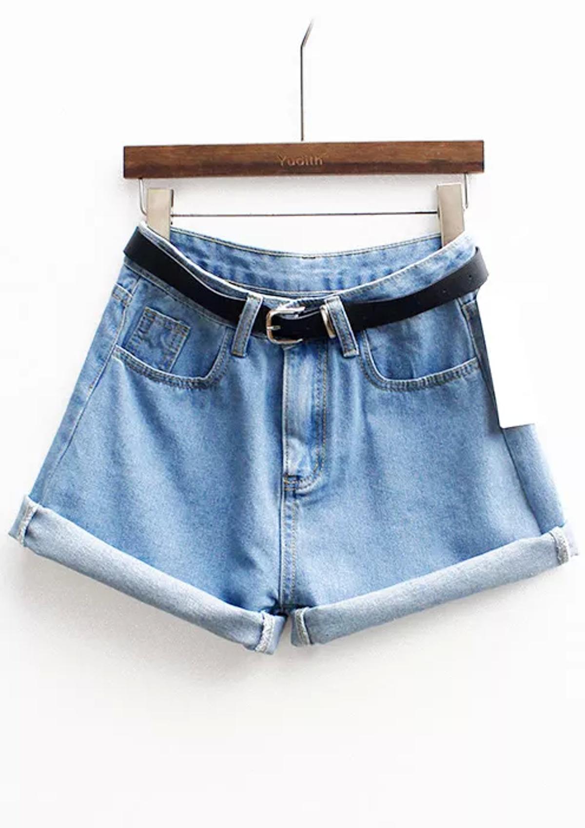 袖口翻邊 牛仔布 短褲 附有 腰帶