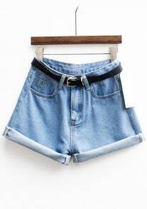 Cuffed Denim Shorts With Belt