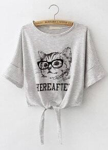 Grey Striped Cat Print Knotted Crop T-Shirt