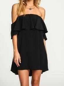 Black Boat Neck Ruffle Loose Dress