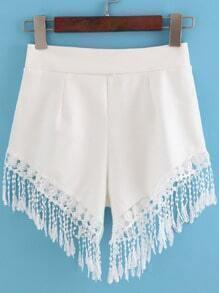 Elastic Waist With Tassel White Shorts