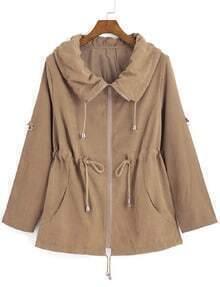 Lapel With Zipper Khaki Coat