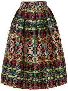 Geometric Print Flare Skirt