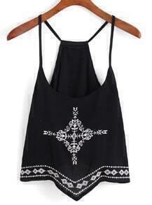 Spaghetti Strap Embroidered Black Cami Top