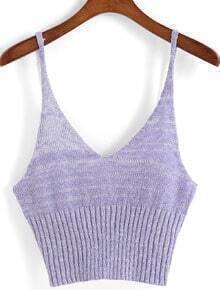 Spaghetti Strap Knit Purple Cami Top