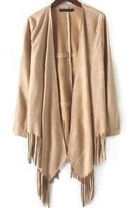 With Tassel Loose Apricot Coat