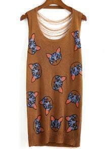Cat Print Hollow Knit Khaki Dress