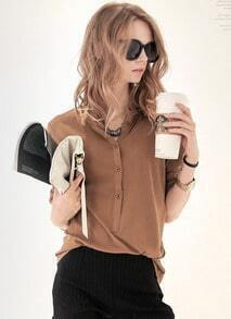 Stand Collar With Buttons Khaki Blouse
