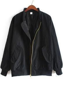 Stand Collar With Pockets Black Jacket