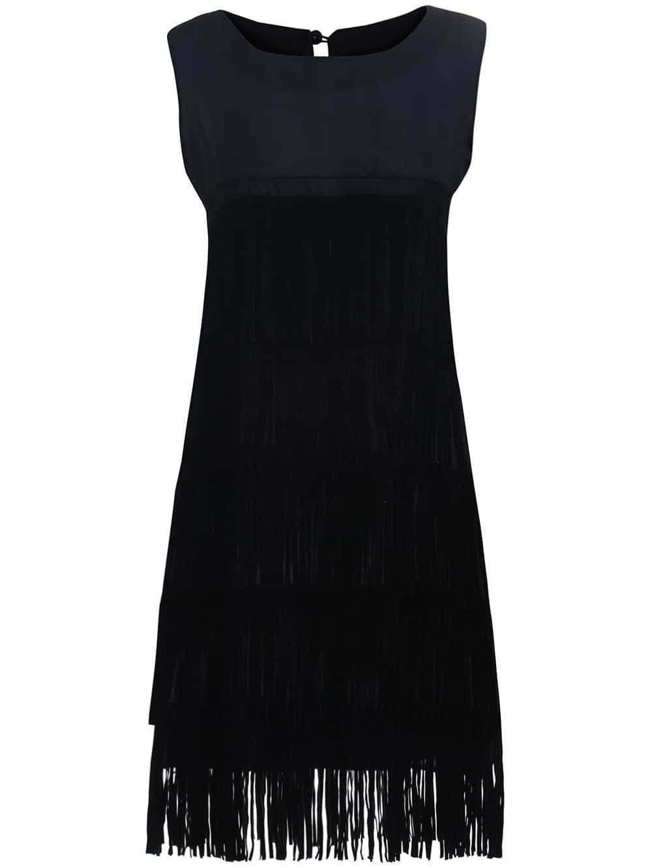 robe sans manches franges noir french romwe. Black Bedroom Furniture Sets. Home Design Ideas