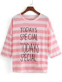 Letter Print Striped Loose T-shirt