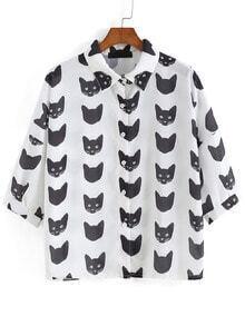 Lapel Cat Print White Blouse