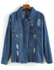 Lapel With Pockets Ripped Denim Coat