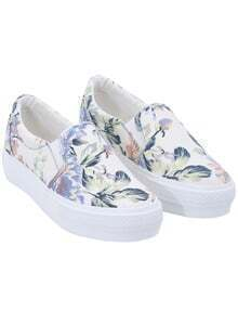 White Round Toe Florals Flat Shoes