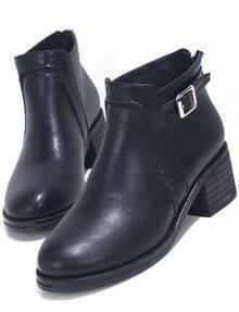Black Chunky Heel Buckle Strap Boots