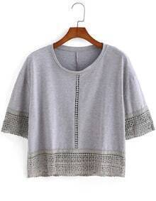 Crochet Hem Loose Grey Top