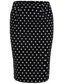 Polka Dot Slim Black Skirt