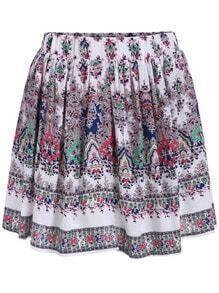 Elastic Waist Tribal Print Pleated Skirt