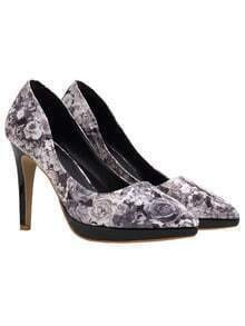 Black Rose Print High Heel Pumps