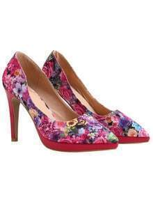 Red Rose Print High Heel Pumps