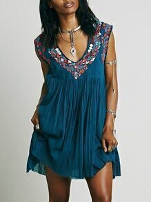 Blue Sleeveless V Neck Tribal Embroidered Dress