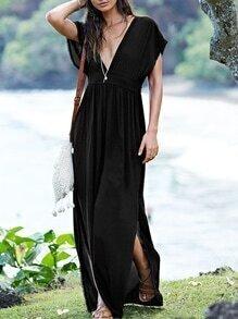 Black Cap Sleeve Deep V Neck Backless Split Maxi Dress