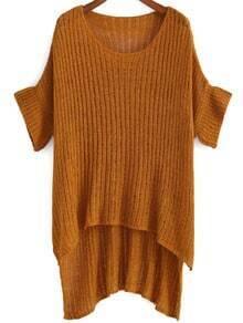 Round Neck Dip Hem Knit Yellow Sweater
