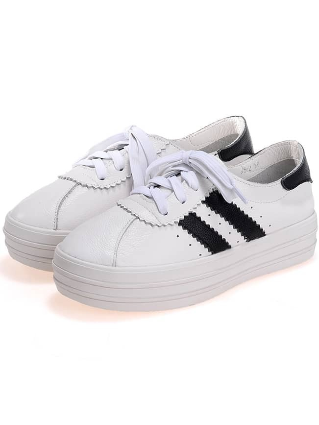 white thick soled shoelace flats