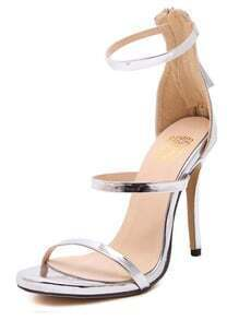 Silver Ankle Strap High Heel Sandals