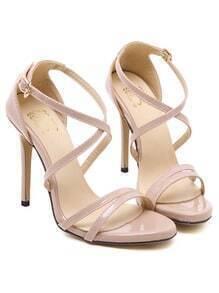 Nude Cross Strap High Heel Sandals