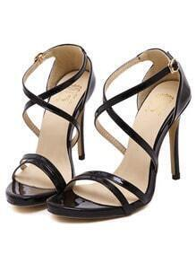 Black Cross Strap High Heel Sandals