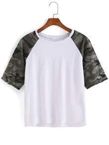 Camouflage Loose White T-shirt