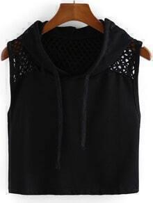 Hooded Sleeveless Crop T-shirt