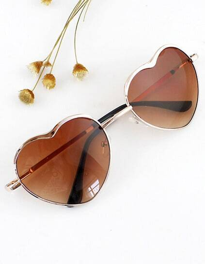 Fashion Gold Silver Alloy Heart Shape Acetate Frame Wrap Sunglasses