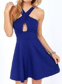 Halter Cut Out Flare Blue Dress