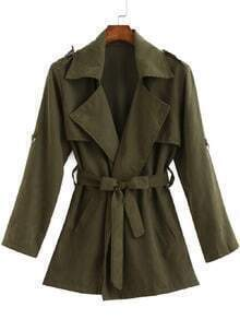 Lapel With Belt Green Coat