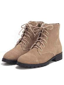 Camel Low Heel Shoelace Boots