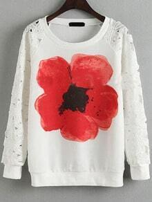 Lace Insert Flower Print T-shirt