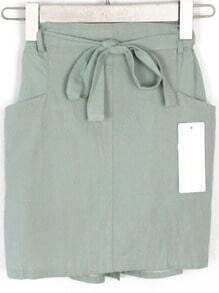 Elastic Waist With Pockets Skirt