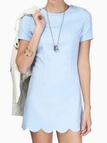 Short Sleeve Scalloped Hem Blue Dress