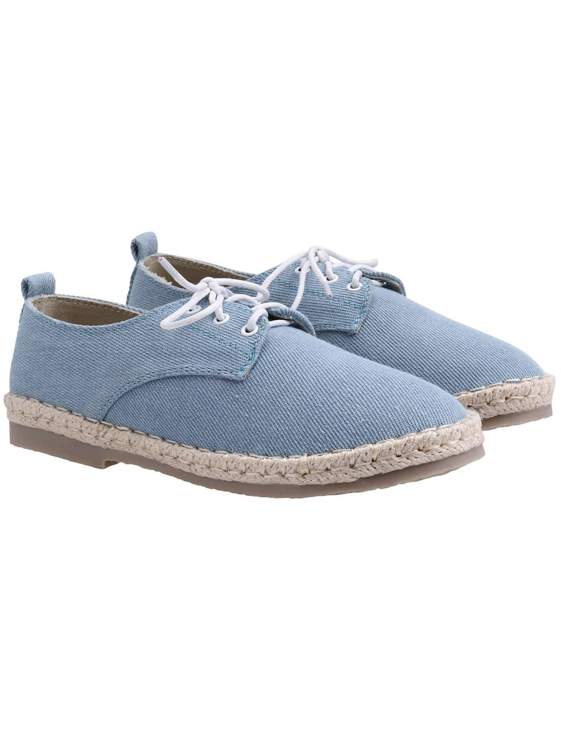 Light Blue Weave Trims Low Heel Shoelace Flats
