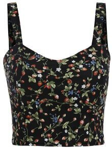 Spaghetti Strap Flower Print Black Cami Top