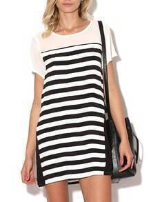 White Black Short Sleeve Striped T-Shirt Dress