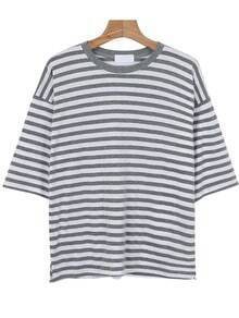 Letter Print Striped Loose Grey T-shirt
