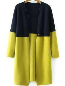 Stand Collar Color-block Cardigan