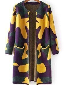 With Pockets Camouflage Yellow Cardigan