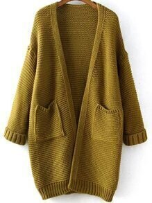 With Pockets Knit Army Green Cardigan