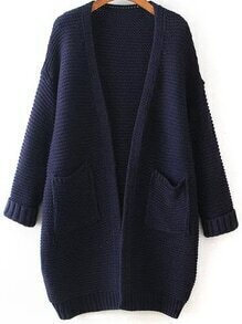 With Pockets Knit Navy Cardigan