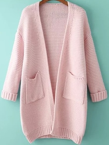 With Pockets Knit Pink Cardigan